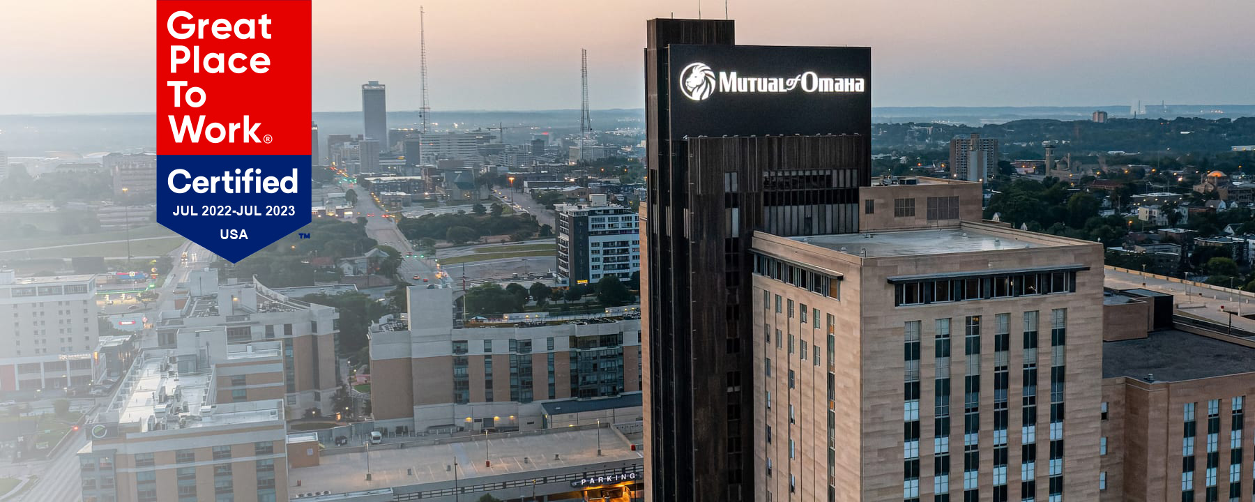 view of mutual of omaha building from a drone