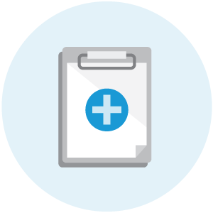 illustration of a clipboard on a light blue background with a medical plus sign in light blue on a dark blue circle in the middle of it