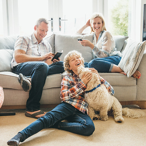 Family and dog enjoy the protection of disability insurance